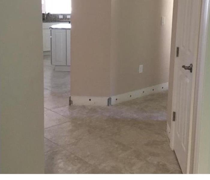 tile floor and drywall