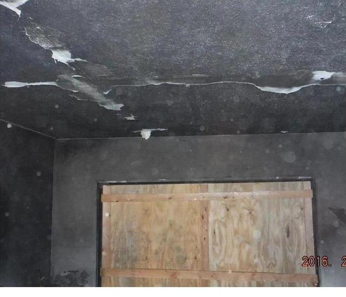 smoke and soot on ceiling